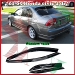 AeroWerks - Side Tinted Window Visors - OE Style - Honda Civic 2001-2005 4 Doors