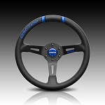 Momo - Tuning Steering Wheel - Drifiting 33 - 330mm - Black Leather, Red Inserts, Black Spoke