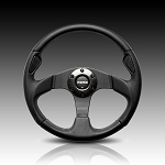 Momo - Tuning Steering Wheel - Jet - 320mm - Black Leather, Black Spoke