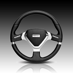 Momo - Tuning Steering Wheel - Millenium EVO - 350mm - Black Leather, Silver Spoke