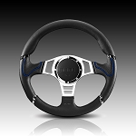 Momo - Tuning Steering Wheel - Millenium Sport - 350mm - Black Leather, Silver Spoke, Blue Trim