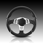Momo - Tuning Steering Wheel - Millenium Sport - 350mm - Black Leather, Silver Spoke, Red Trim