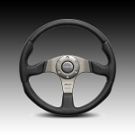 Momo - Tuning Steering Wheel - Race - 320mm - Black Leather, Silver Spoke