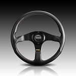 Momo - Tuning Steering Wheel - Tuner - 320mm - Black Leather, Black Spoke, Red Stitch