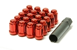Muteki - Tuner Spline Close Ended Wheel Lug Nuts - 12x1.25mm - Set of 20 Lugs + 1 Key - Red