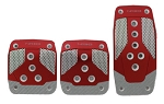 NRG - Brushed Aluminum Sport Pedal - Red with Silver Carbon - Universal - Manual Transmission