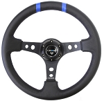 NRG - Limited Edition Deep Dish Series Steering Wheel - 350mm - 3 Spoke Leather Black Center - Blue Markings