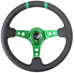 NRG - Limited Edition Deep Dish Series Steering Wheel - 350mm - 3 Spoke Leather Green Center - Green Markings