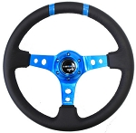 NRG - Limited Edition Deep Dish Series Steering Wheel - 350mm - 3 Spoke Leather New Blue Center - New Blue Markings