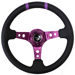 NRG - Limited Edition Deep Dish Series Steering Wheel - 350mm - 3 Spoke Leather Purple Center - Purple Markings