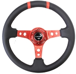 NRG - Limited Edition Deep Dish Series Steering Wheel - 350mm - 3 Spoke Leather Red Center - Red Markings