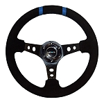 NRG - Limited Edition Deep Dish Series Steering Wheel - 350mm - 3 Spoke Suede Black Center - Blue Markings
