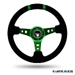 NRG - Limited Edition Deep Dish Series Steering Wheel - 350mm - 3 Spoke Suede Green Center - Green Markings