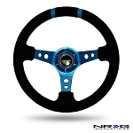 NRG - Limited Edition Deep Dish Series Steering Wheel - 350mm - 3 Spoke Suede New Blue Center - New Blue Markings