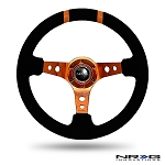 NRG - Limited Edition Deep Dish Series Steering Wheel - 350mm - 3 Spoke Suede Orange Center - Orange Markings
