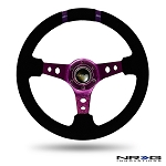 NRG - Limited Edition Deep Dish Series Steering Wheel - 350mm - 3 Spoke Suede Purple Center - Purple Markings