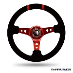 NRG - Limited Edition Deep Dish Series Steering Wheel - 350mm - 3 Spoke Suede Red Center - Red Markings