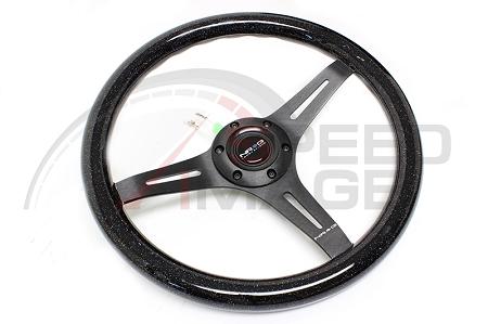 NRG Innovations ST-015BK-MF Classic Wood Grain Wheel 350mm 3 black spokes-Minty Fresh Color
