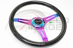 NRG - Wood Grain Series Steering Wheel - 350mm - 3 Spoke Neo Chrome Center - Black Sparkled