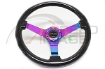 NRG - Deep Dish Wood Grain Series Steering Wheel - 350mm - 3 Spoke Neo Chrome Center - Black Sparkled