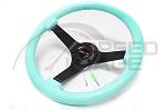 NRG - Deep Dish Wood Grain Series Steering Wheel - 350mm - 3 Spoke Black Center - Mint Fresh Green