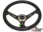 NRG - Deep Dish Wood Grain Series Steering Wheel - 350mm - 3 Spoke Black Center - Black