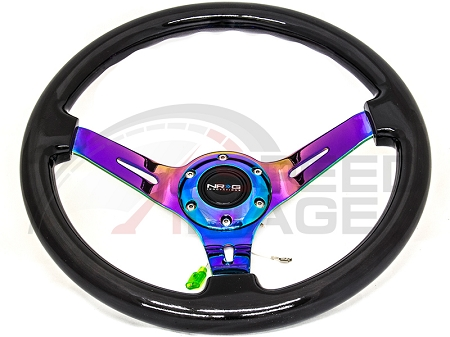 NRG Reinforced RST-018BSB-MC 350mm 3 inches Deep Dish Neo Chrome Spoke Sparkle Wood Grip Steering Wheel