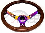 NRG - Deep Dish Wood Grain Series Steering Wheel - 350mm - 3 Spoke Neo Chrome Center - Brown