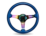 NRG - Wood Grain Series Steering Wheel - 350mm - 3 Spoke Neo Chrome Center - Blue
