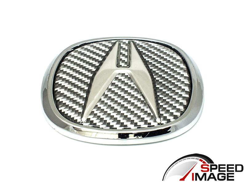 SI Universal Acura Emblem Cm X Cm Silver Carbon Fiber - Red acura emblem