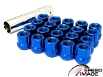 SI - Muteki Style Tuner Open Ended Steel Lug Nuts - 12x1.5mm Thread Pitch - Blue - Set of 20 Lugs + 1 Key