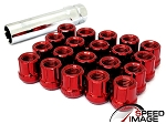 SI - Muteki Style Tuner Open Ended Steel Lug Nuts - 12x1.5mm Thread Pitch - Red - Set of 20 Lugs + 1 Key