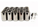 Z Racing - Inner Hex Steel Lug Nuts - 12x1.5mm Thread Pitch - Black Chrome - Set of 20 Lugs + 1 Key