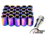 Z Racing - Inner Hex Steel Lug Nuts - 12x1.5mm Thread Pitch - Neo Chrome - Set of 20 Lugs + 1 Key