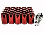 Z Racing - Inner Hex Steel Lug Nuts - 12x1.5mm Thread Pitch - Red - Set of 20 Lugs + 1 Key