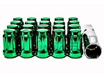 Z Racing - Muteki Style Tuner Close Ended Steel Lug Nuts - 12x1.5mm Thread Pitch - Green - Set of 20 Lugs + 1 Key
