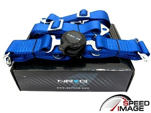 NRG - 4 Point 2 Inch Cam Lock Safety Seat Belt Harness - Blue - For One Seat