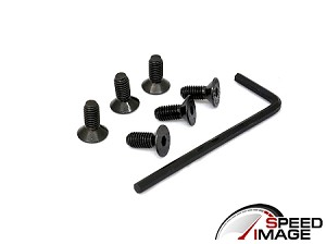 SI - 6 Replacement Steering Wheel Screws with Allen Key - For Personal, Nardi, Momo and NRG Steering Wheels - Black